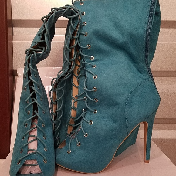 fbf8f89affff Over the knee Lace up Stiletto Boots Turquoise